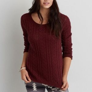 AEO Sedona Cable Knit Side Zipper Sweater Size S